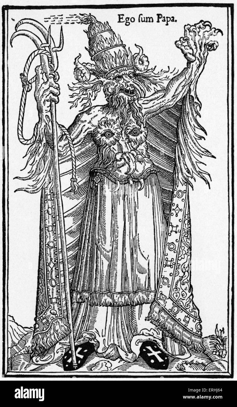 """Je suis le Pape."""" 16e siècle Gravure satirique français contre les réprouvés le Pape Alexandre Photo Stock"""