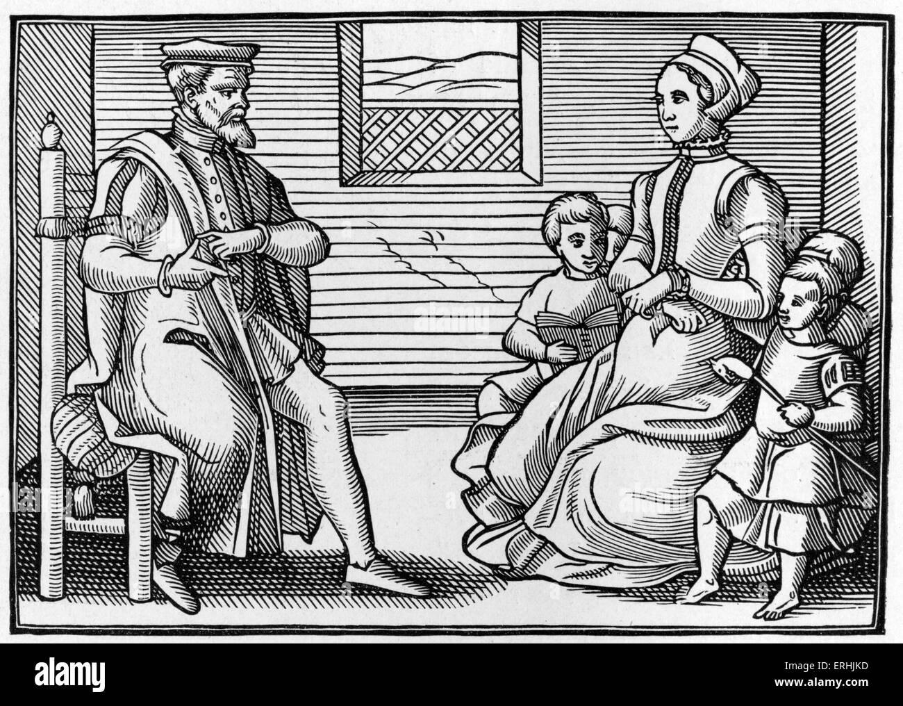 """Une famille puritaine. La gravure du 16ème siècle. Sous-titre suivant """"l'ensemble des psaumes Photo Stock"""