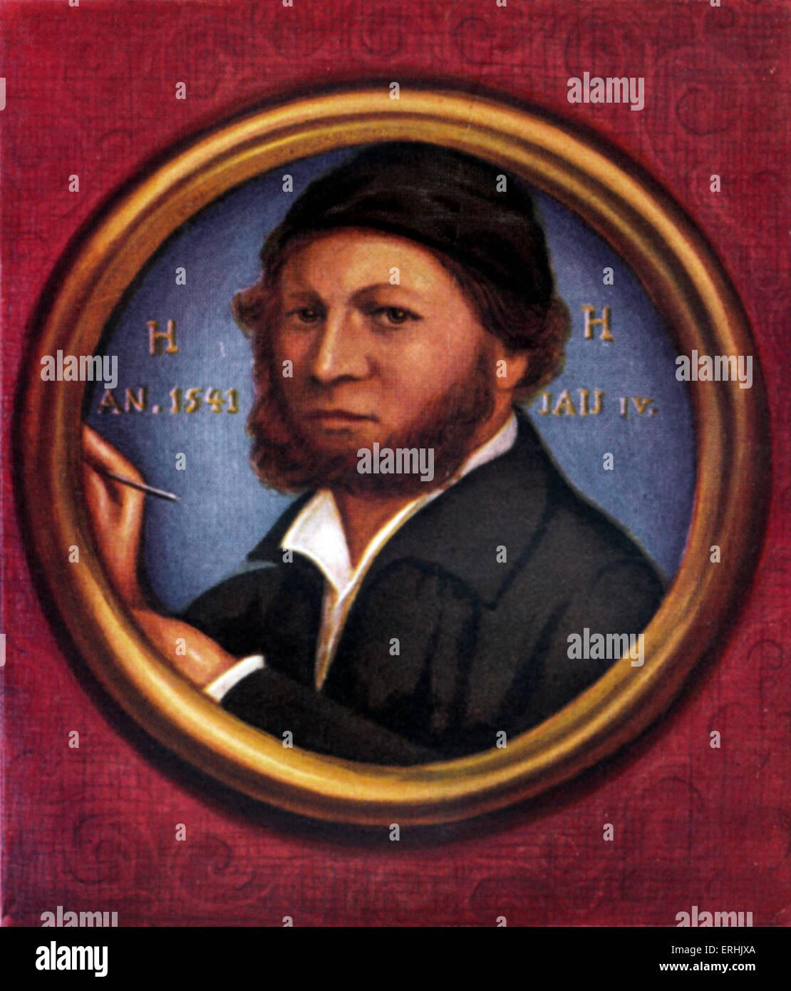Hans Holbein le Jeune. Portrait de l'artiste allemand. c. 1497-1543 Photo Stock
