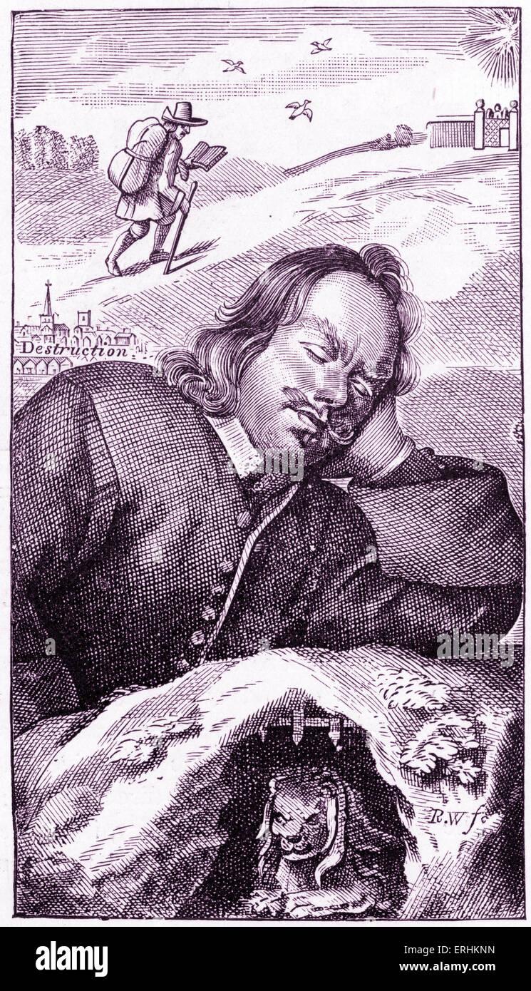 John Bunyan - frontispice de l'auteur anglais 's livre 'Le progrès' du pèlerin (quatrième édition, 1680). 'The Pilgrim's Banque D'Images