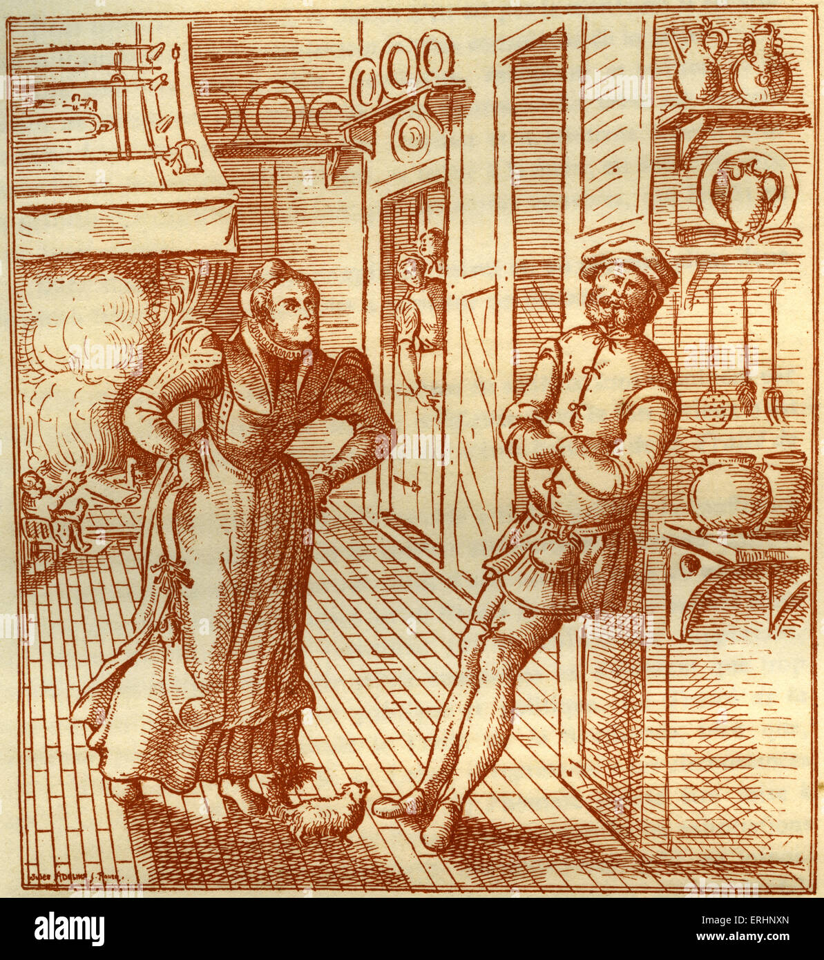George Hoefnaghel - Gravure de 'Le Mari' de patient traité de la patience. Imprimé à Londres Photo Stock