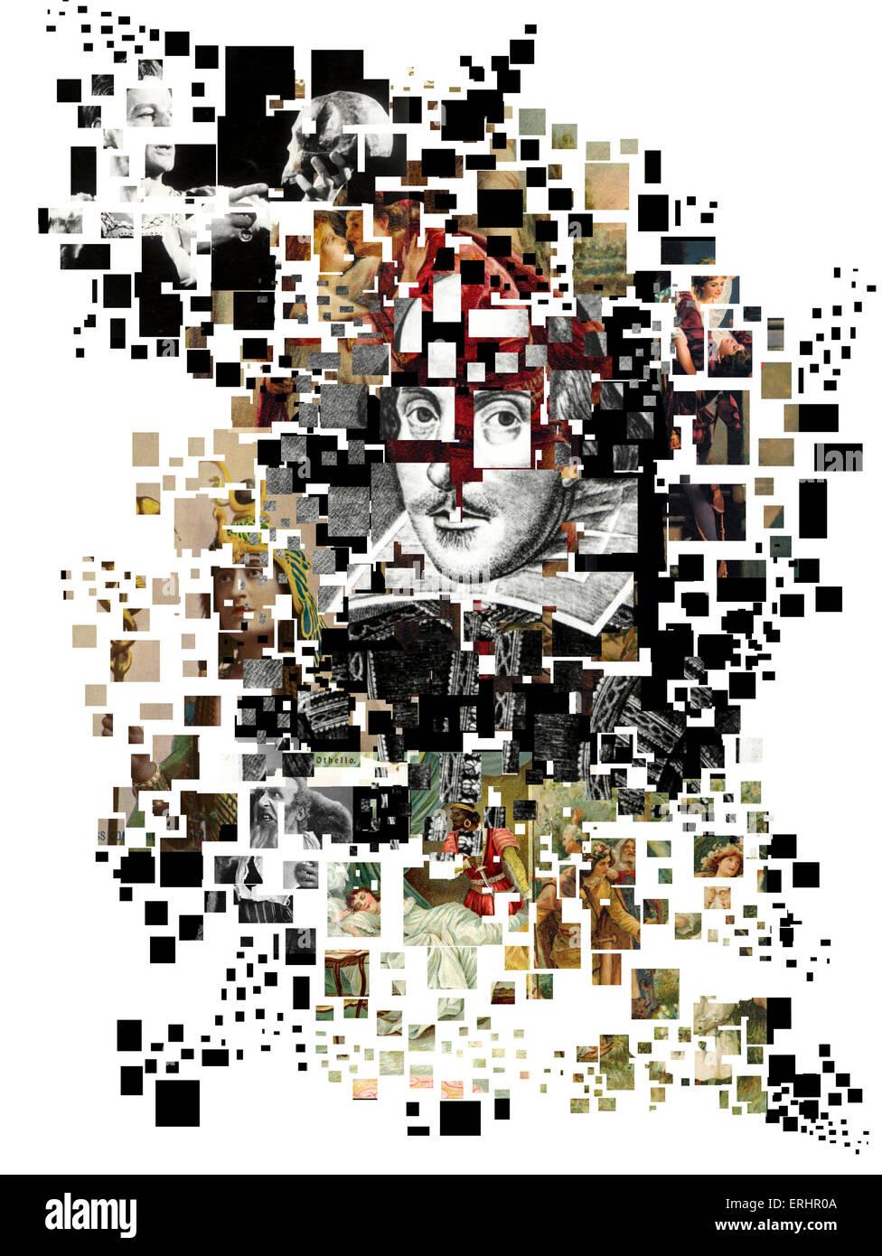 William Shakespeare collage par Oscar Vila Nieto. Photo Stock