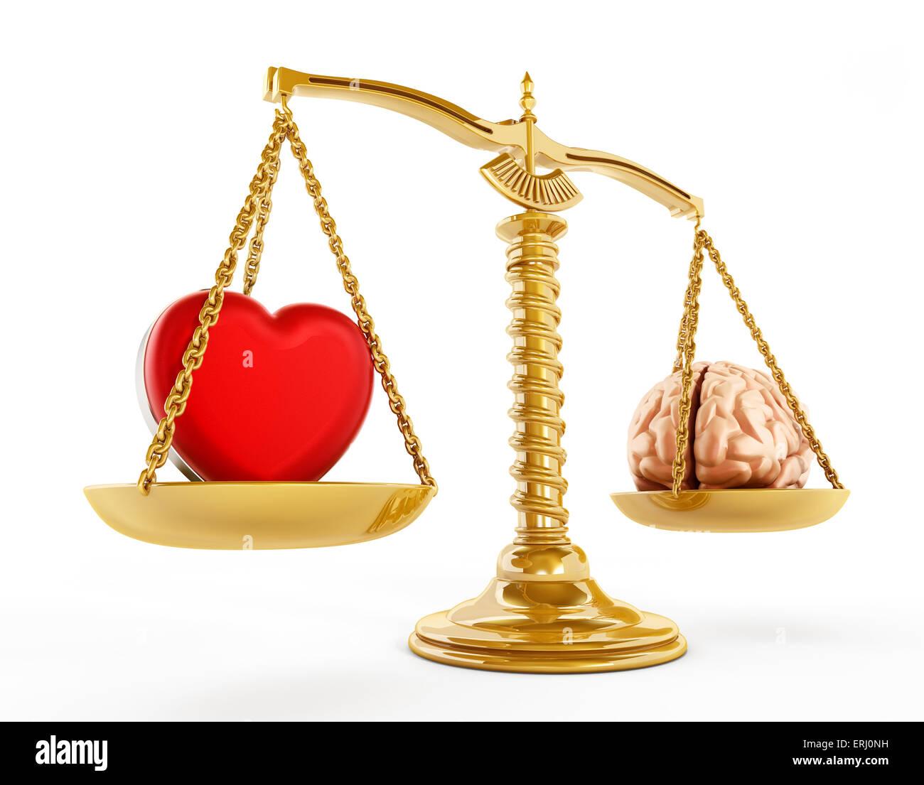 Concept de l'égalité du cœur et du cerveau. Photo Stock