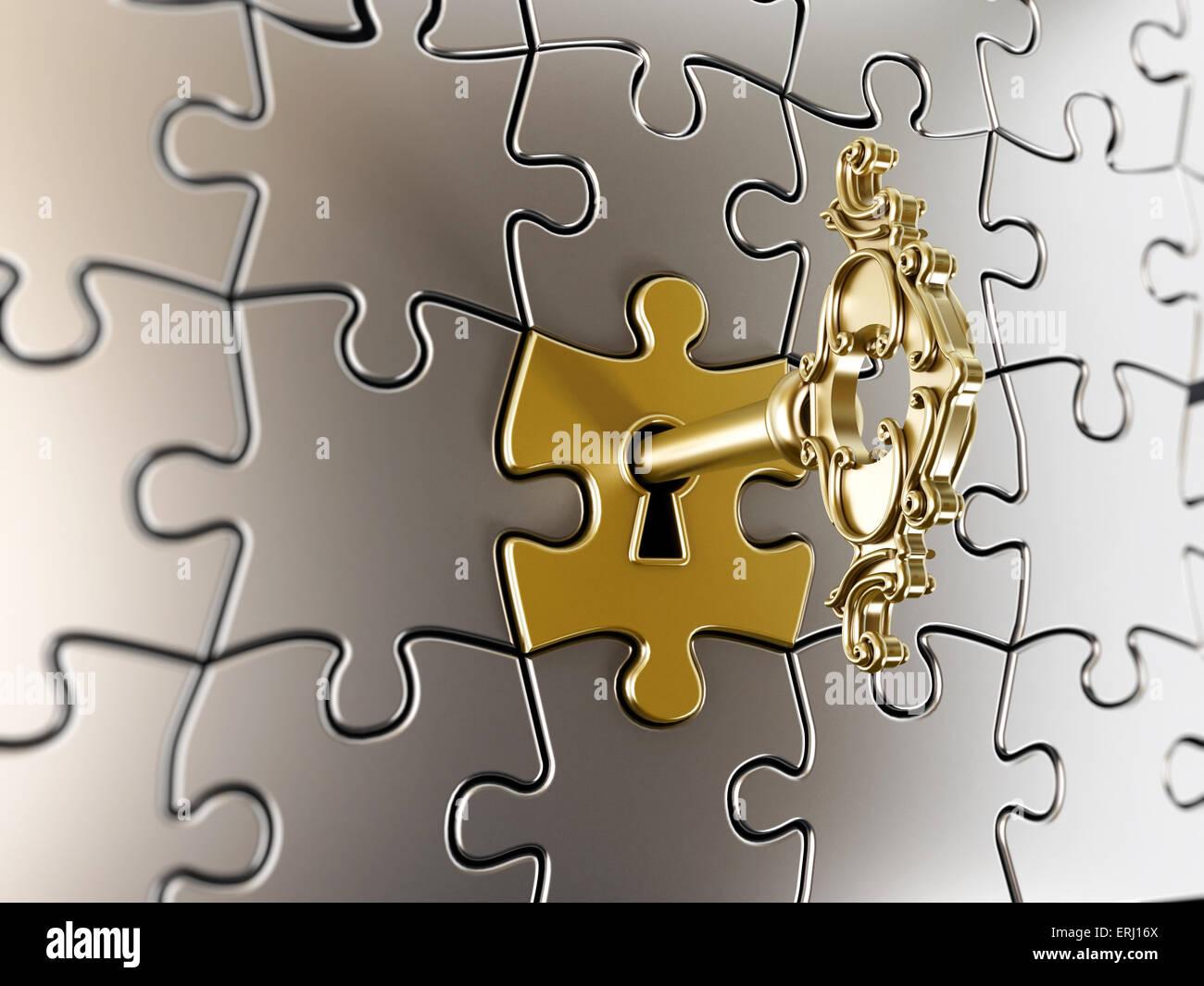 Clé d'or sur la partie puzzle Photo Stock
