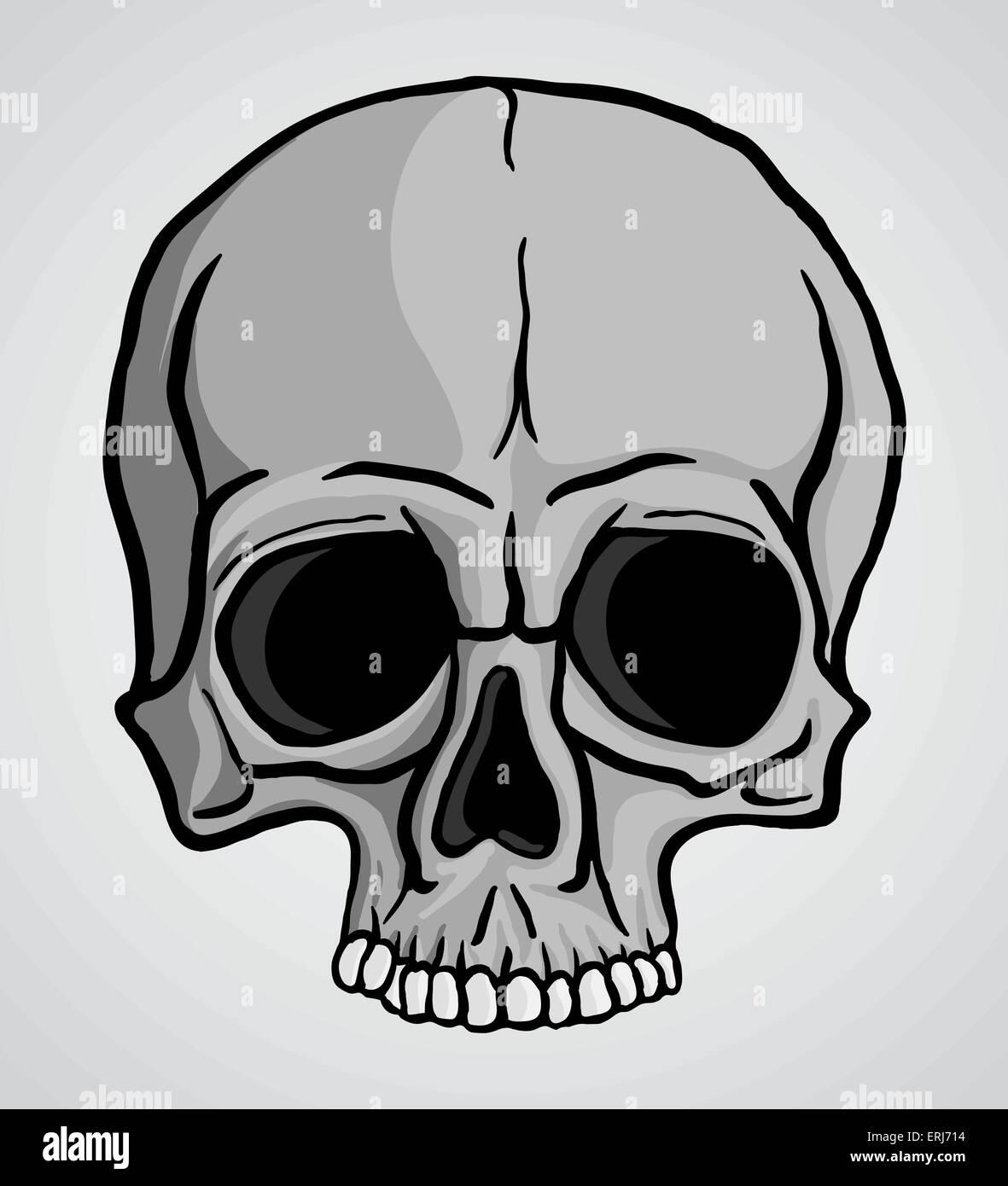 Dessin Libre crâne humain sur fond gris. dessin libre.vector illustration