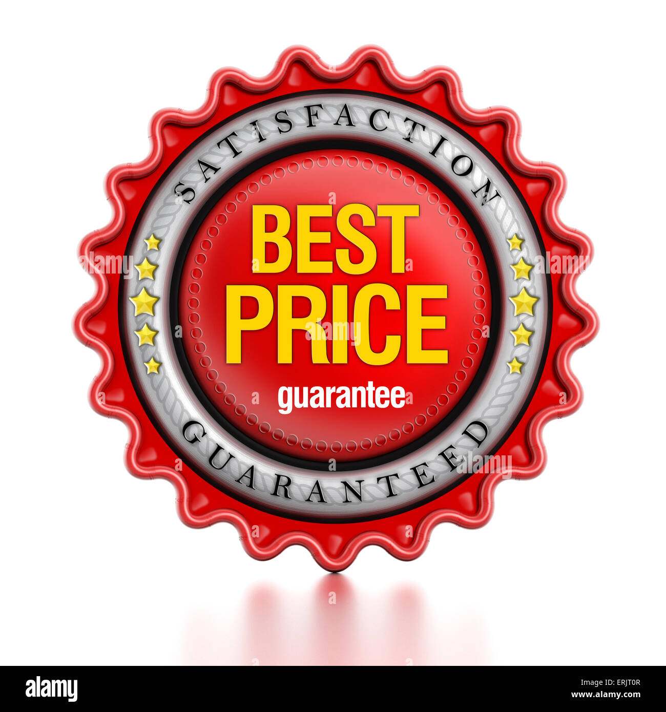 Meilleur prix stamp isolé sur fond blanc. Photo Stock