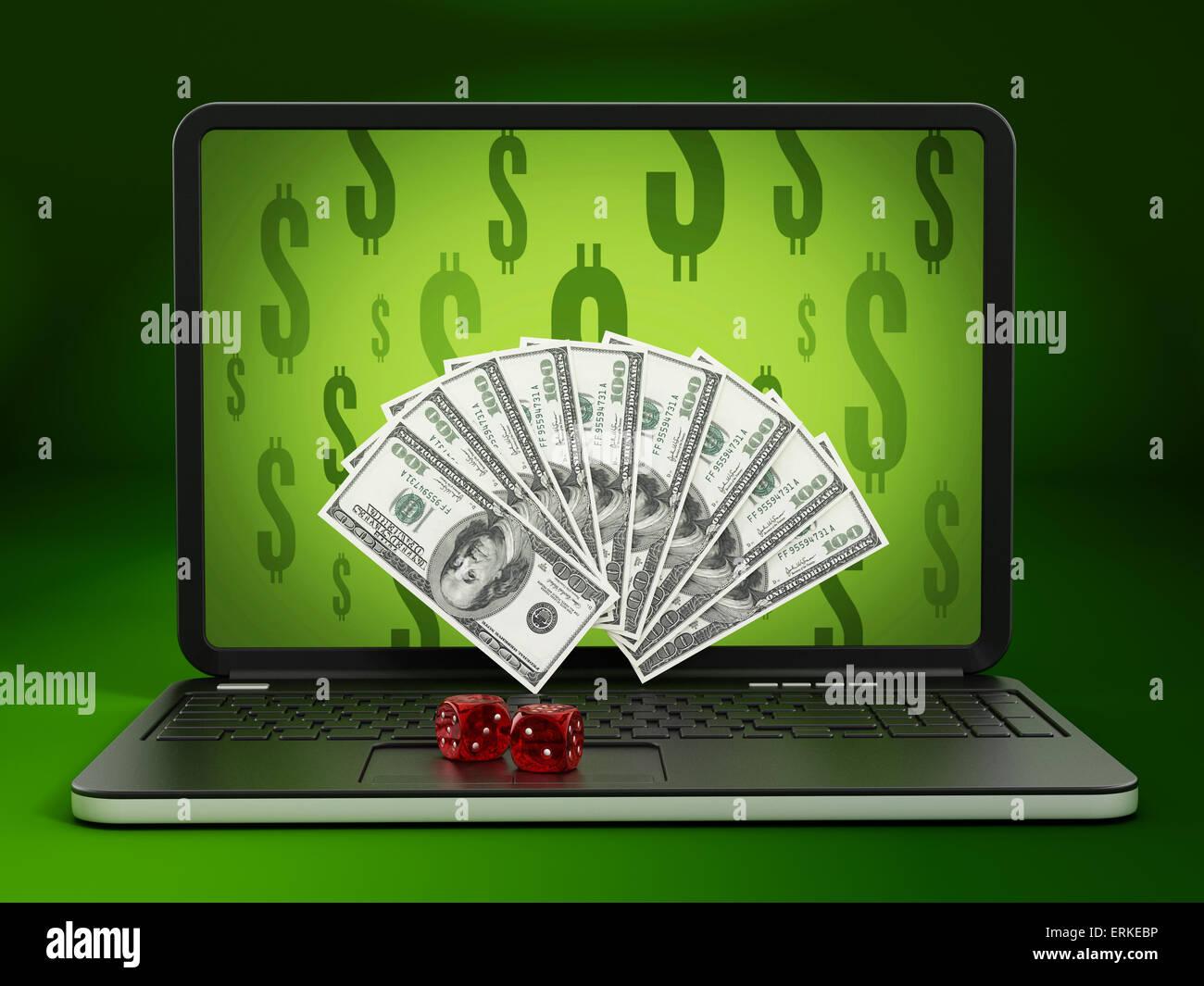 Concept de jeu d'Internet avec l'argent qui sort de l'écran. Photo Stock