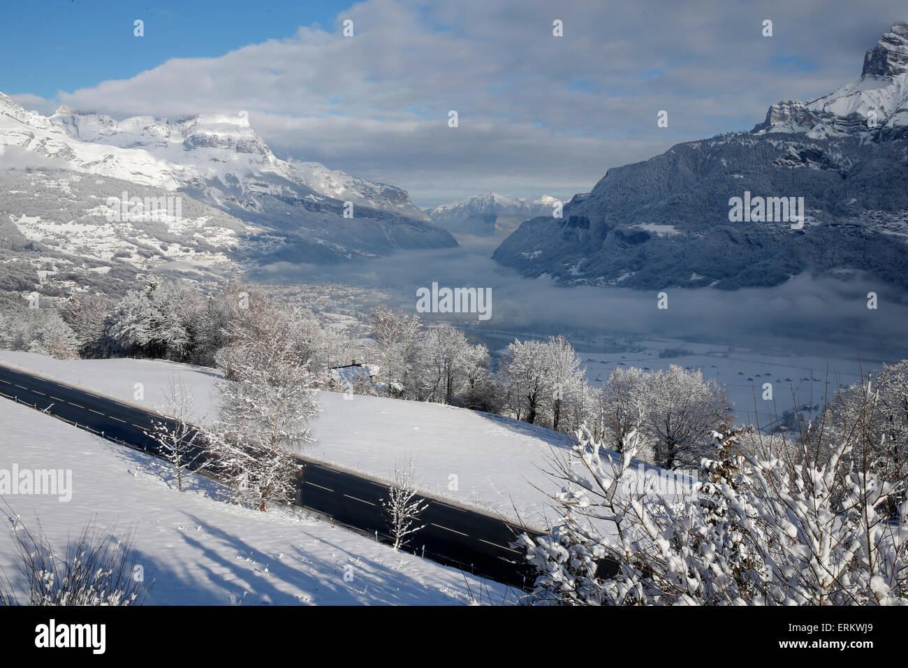 Paysage enneigé, Combloux, Haute Savoie, Alpes, France, Europe Photo Stock