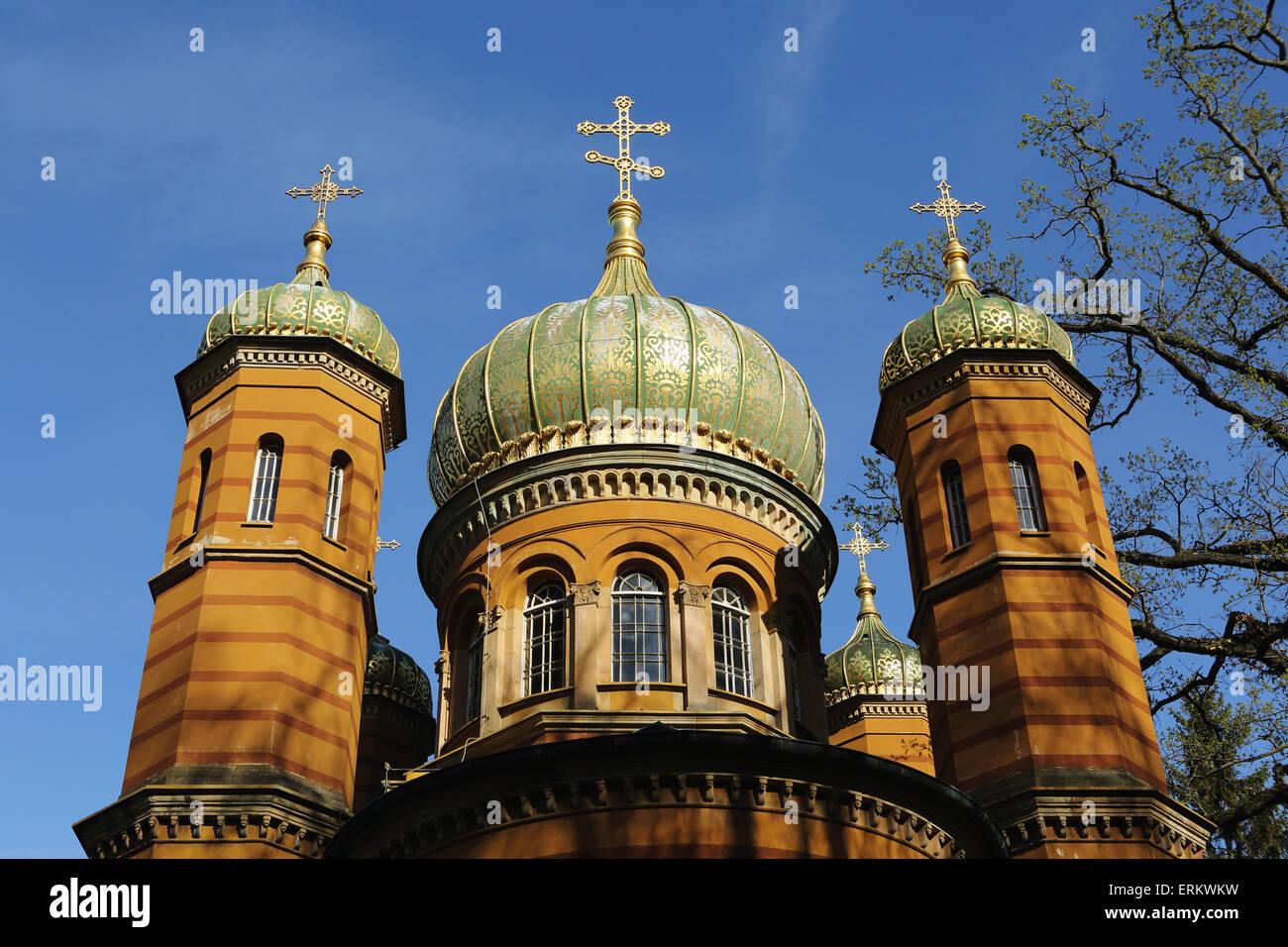 Chapelle Orthodoxe russe, construit de 1860 à 1862 pour la grande-duchesse Maria Palovna, à Weimar, Thuringe, Allemagne, Banque D'Images