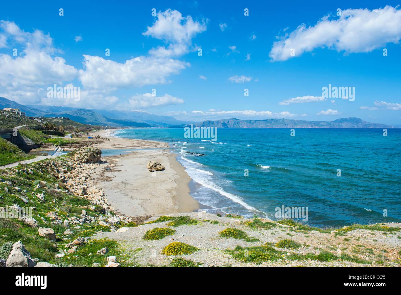 Longue plage de sable de Petres, Crète, îles grecques, Grèce, Europe Photo Stock