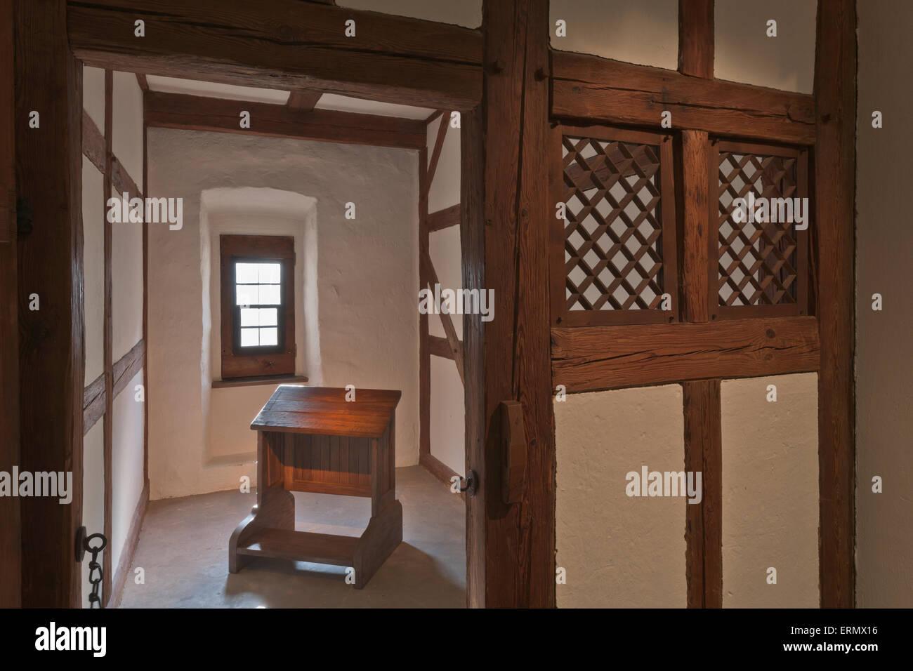 La cellule de moine dans le monastère des augustins, musée, Martin Luther a vécu ici 1505-1508, centre Photo Stock