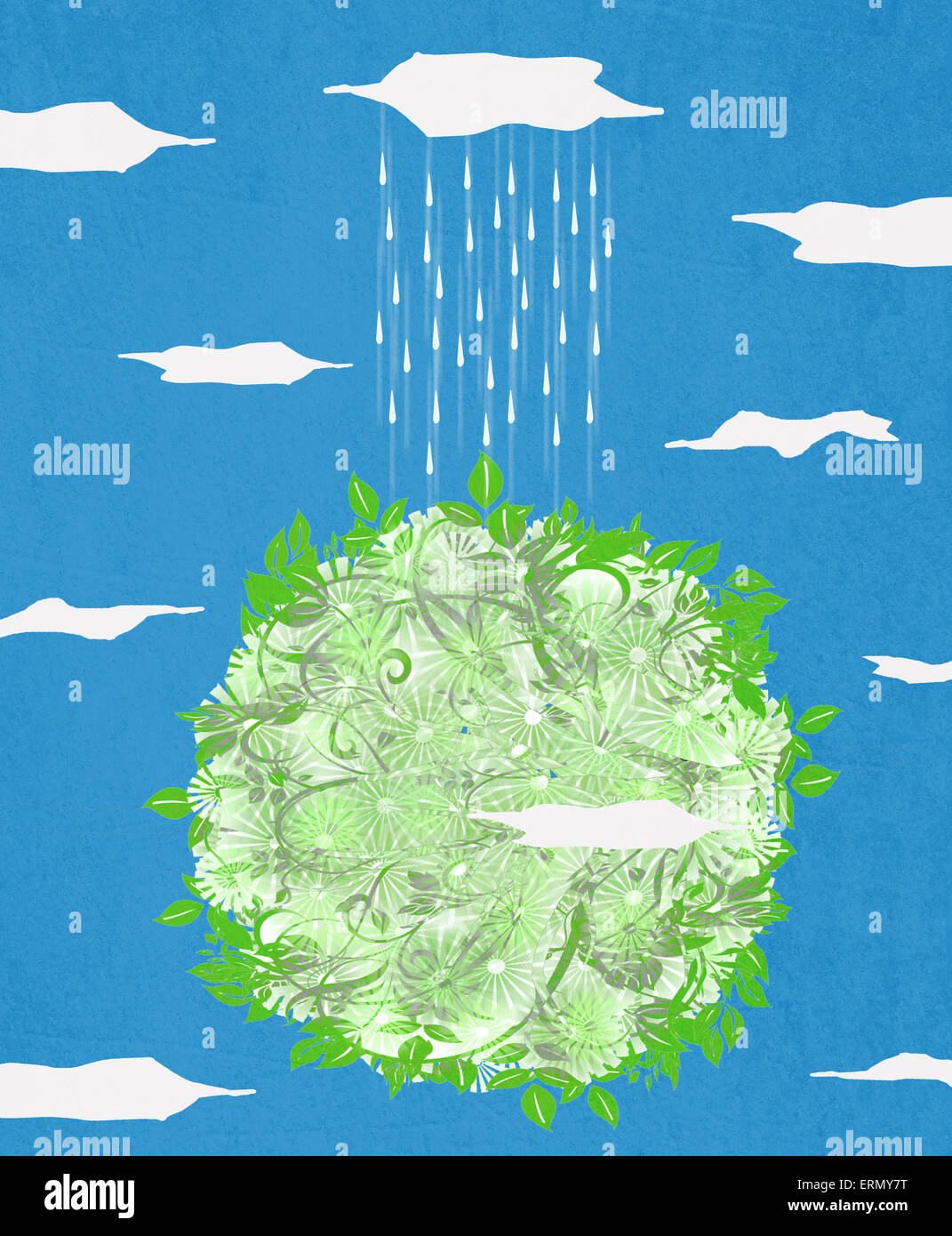 Planète verte et la pluie illustration numérique Photo Stock