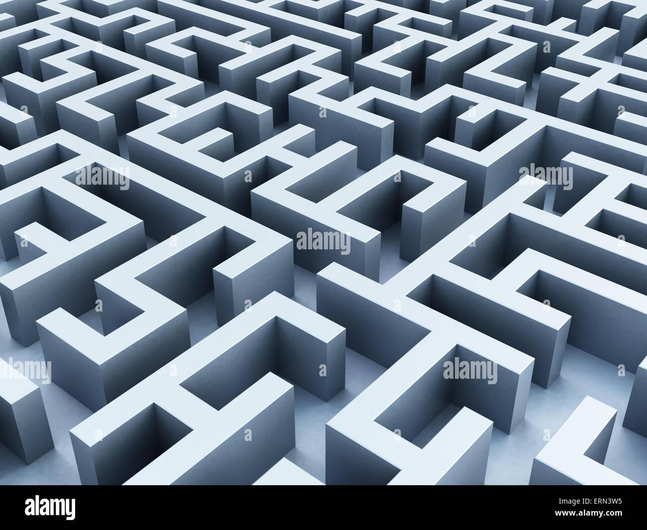 Labyrinthe à partir de la perspective de fuite . Photo Stock