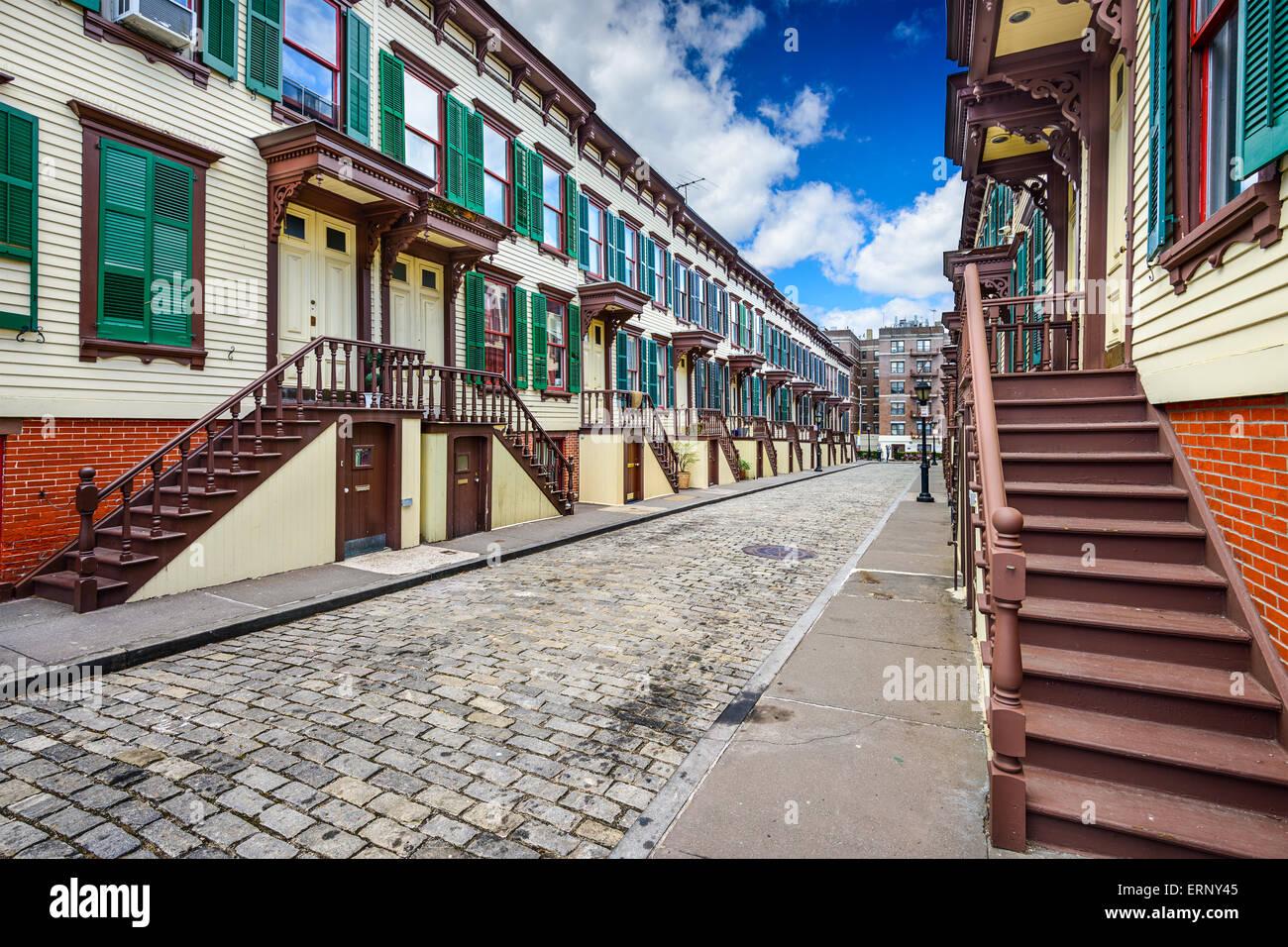 New York City, États-Unis maisons de ville à dans le quartier historique. Terrasse Jumel Photo Stock