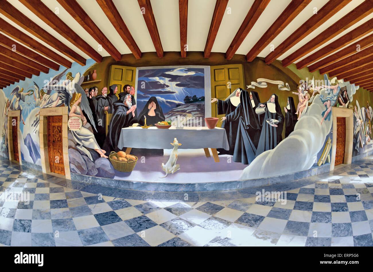 L'Espagne, la Galice: peintures murales dans le cloître du monastère médiéval de Samos Banque D'Images