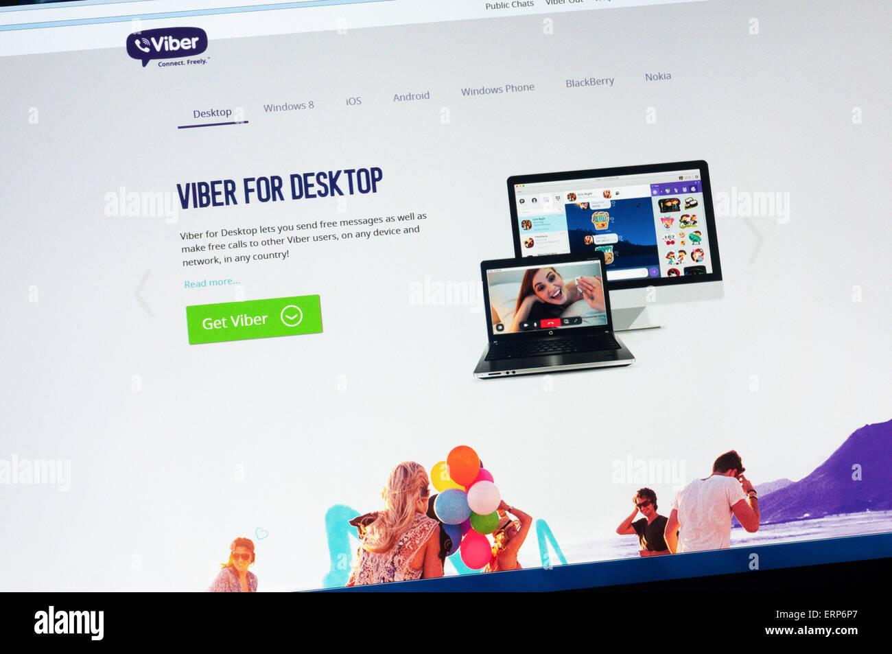 Viber pour Desktop permet aux utilisateurs d'envoyer gratuitement des messages et d'appels à d'autres Photo Stock