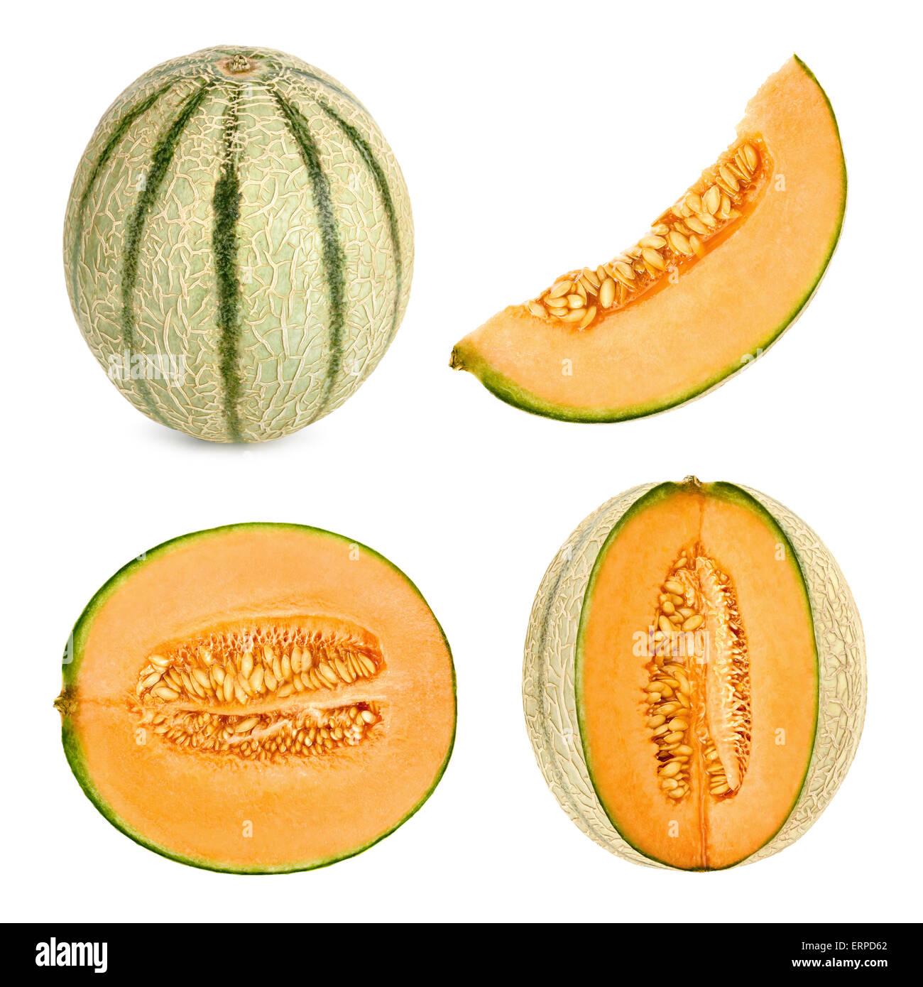 Collage Ensemble de 4 photos studio d'un cantaloup melon, également appelée miellat, coupé en différentes formes, Banque D'Images