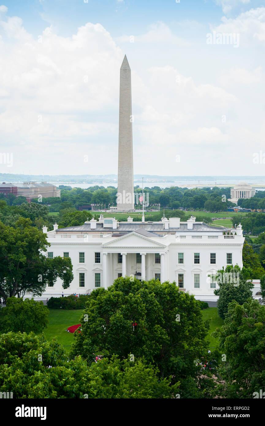 Usa washington dc la maison blanche accueil du président américain vue aérienne du monument de washington et jefferson memorial