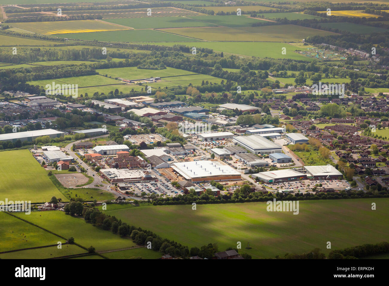 Photo aérienne du parc commercial de Newmarket et Studlands Park Industrial Estate Photo Stock
