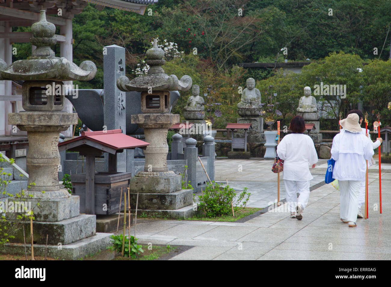 Pèlerins à Yashima-ji, Shikoku, Takamatsu, Japon Photo Stock