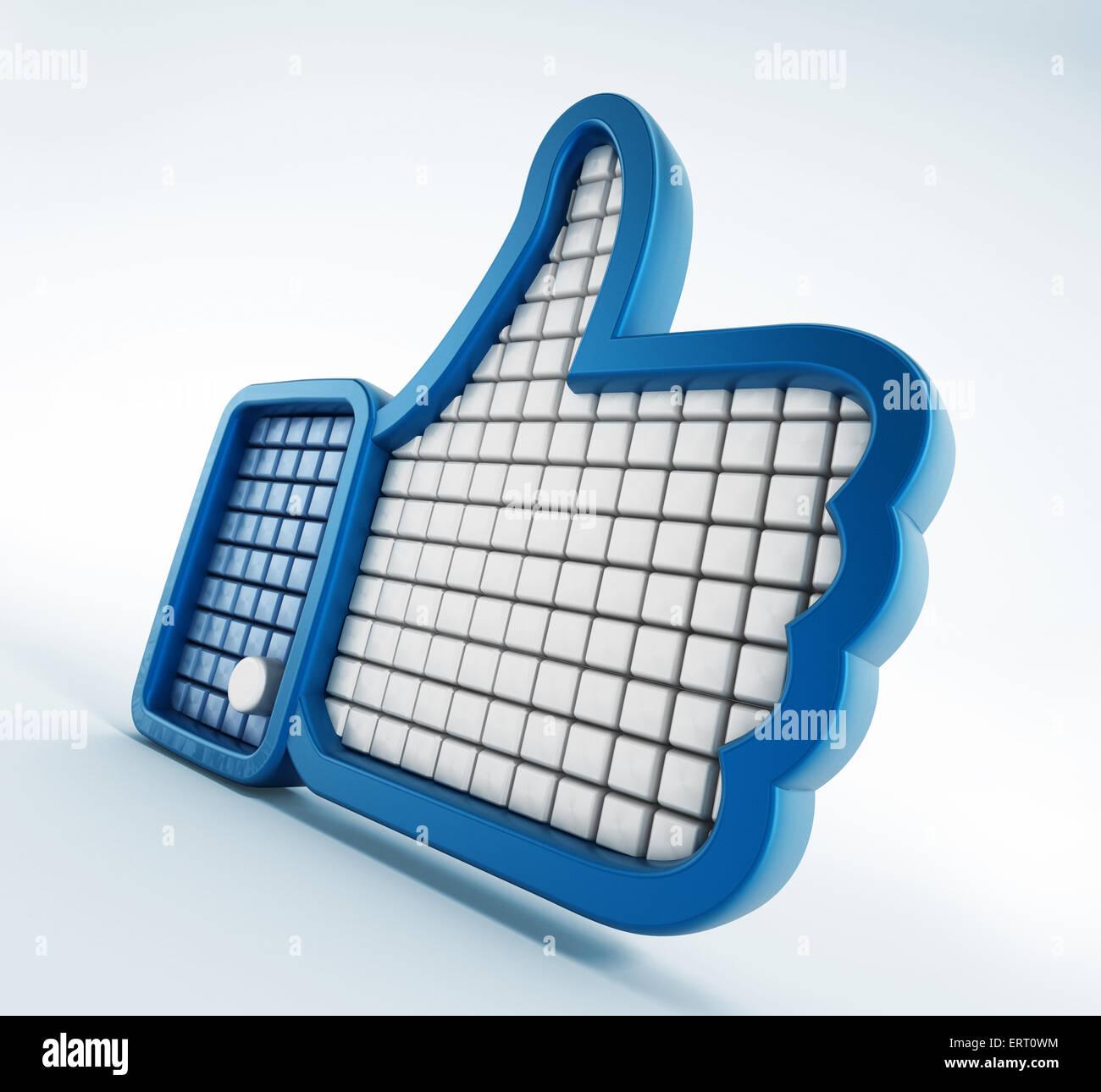 Thumb up symbole isolé sur fond blanc Photo Stock