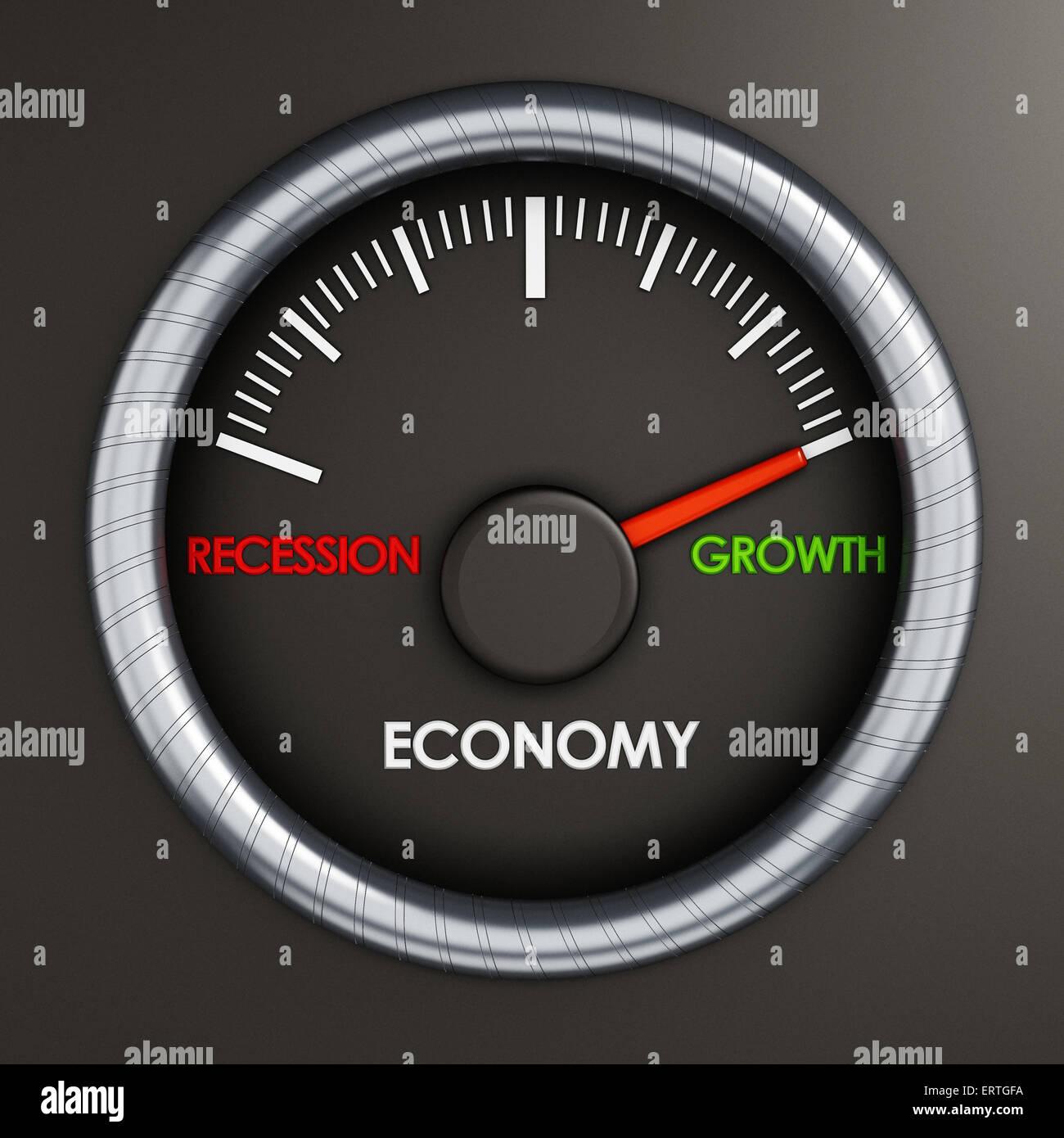 Compteur de vitesse indique la croissance économique Photo Stock