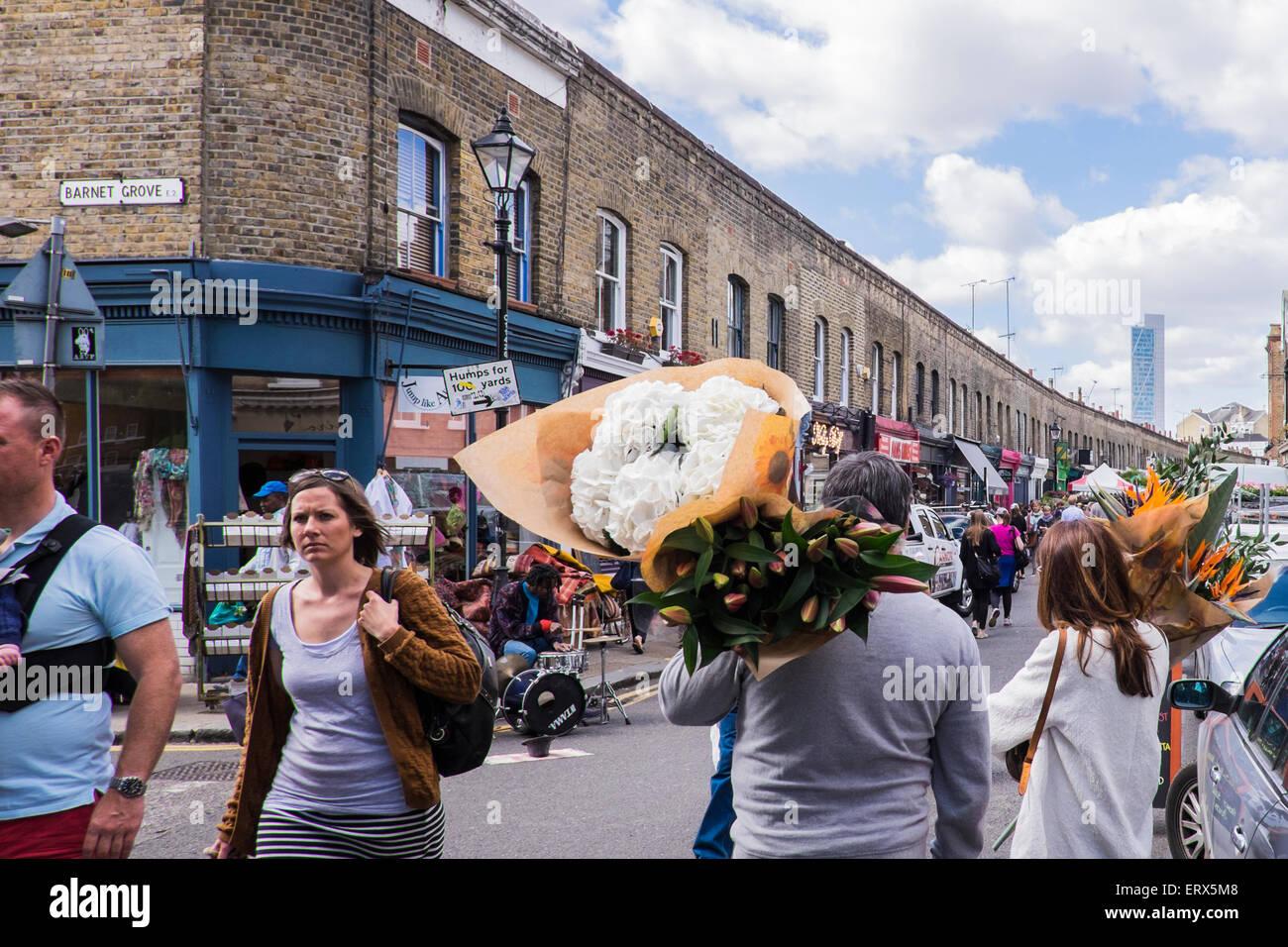 Columbia Road Flower Market, East London, Angleterre, Royaume-Uni Photo Stock