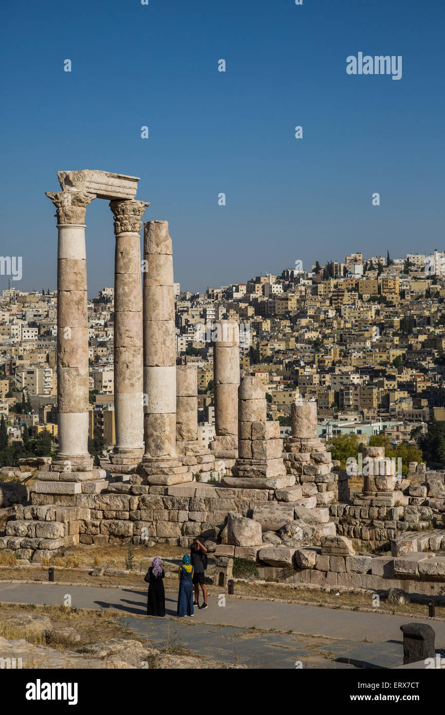 Temple de Hercule sur la citadelle, Amman, Jordanie Photo Stock