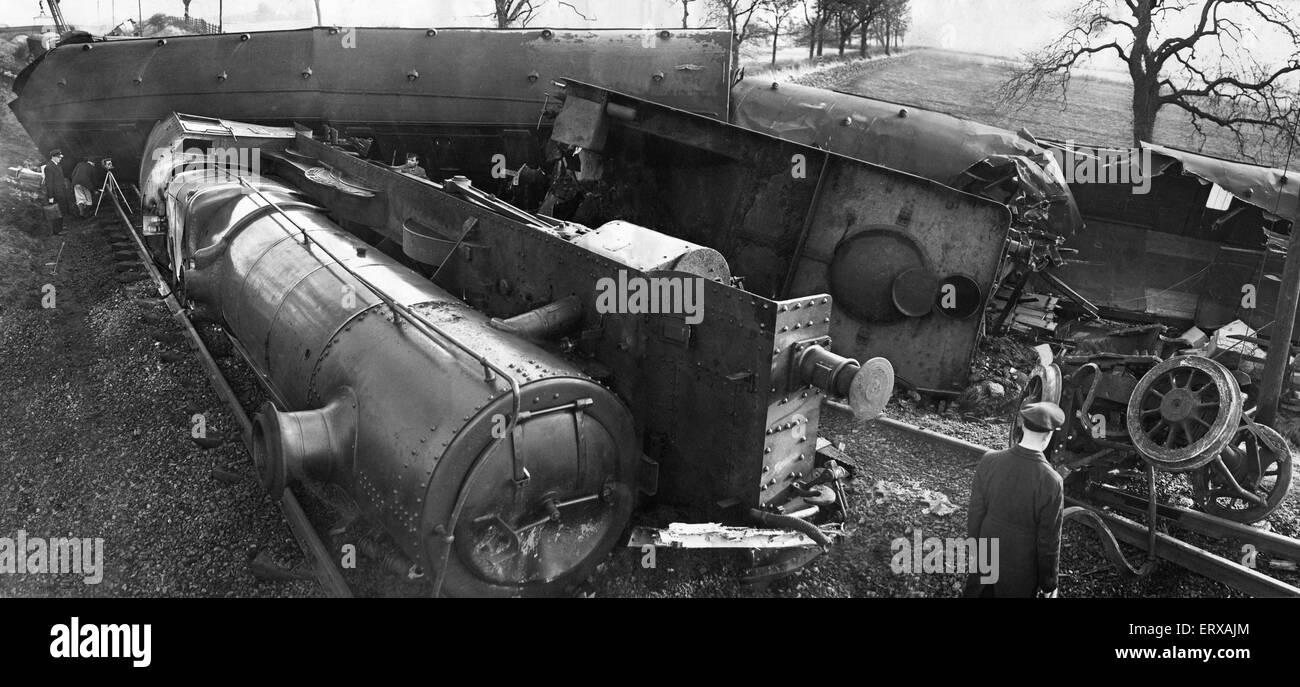 La scène à la suite de la collision entre le train de marchandises express 1,50 heures de Woodford à Photo Stock