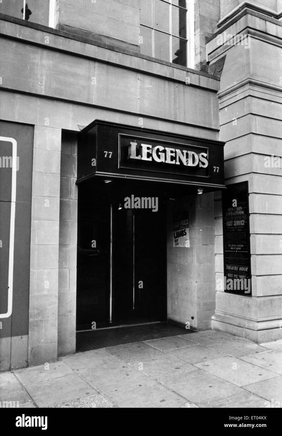 Légendes, discothèque, Newcastle, vers 1983. Photo Stock