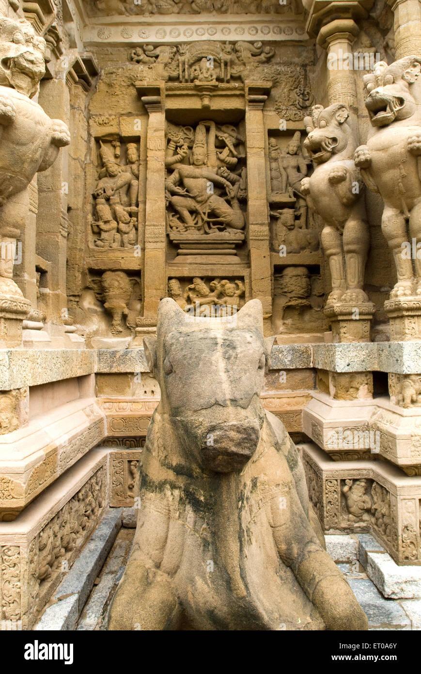 Temple de Kailasanatha roi Pallava Narasimhavarman grès; Kanchipuram Tamil Nadu Inde; Banque D'Images