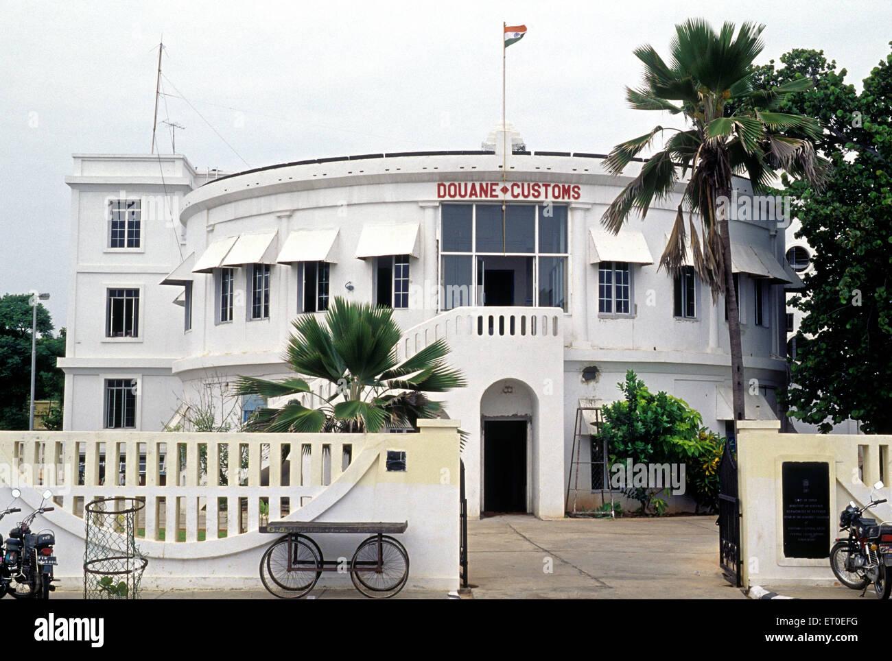 Les douanes sur l'avenue goubert Duane; Beach road; Rhône-Alpes; Tamil Nadu Inde; Photo Stock