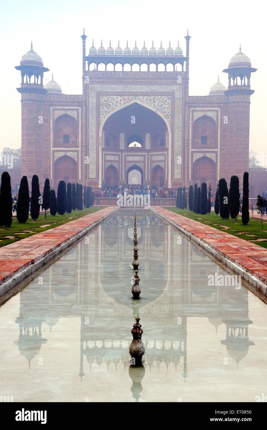 Vue de l'intérieur de l'entrée principale du Taj Mahal Agra Uttar Pradesh;;; Photo Stock