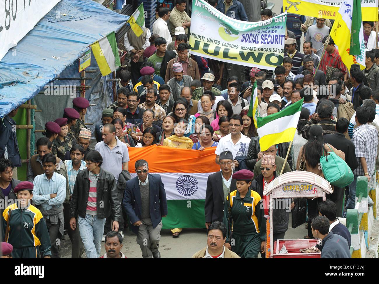 Mouvement pour la séparation; Darjeeling; l'ouest du Bengale en Inde; PAS DE MR Banque D'Images