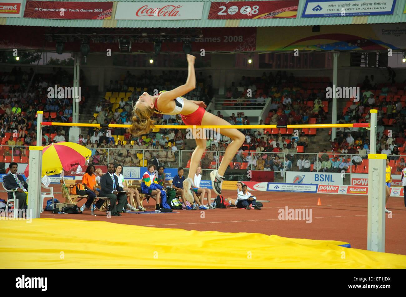 Faire de l'athlète de saut en hauteur; Pune Maharashtra; Inde; 15 octobre 2008 NOMR Photo Stock
