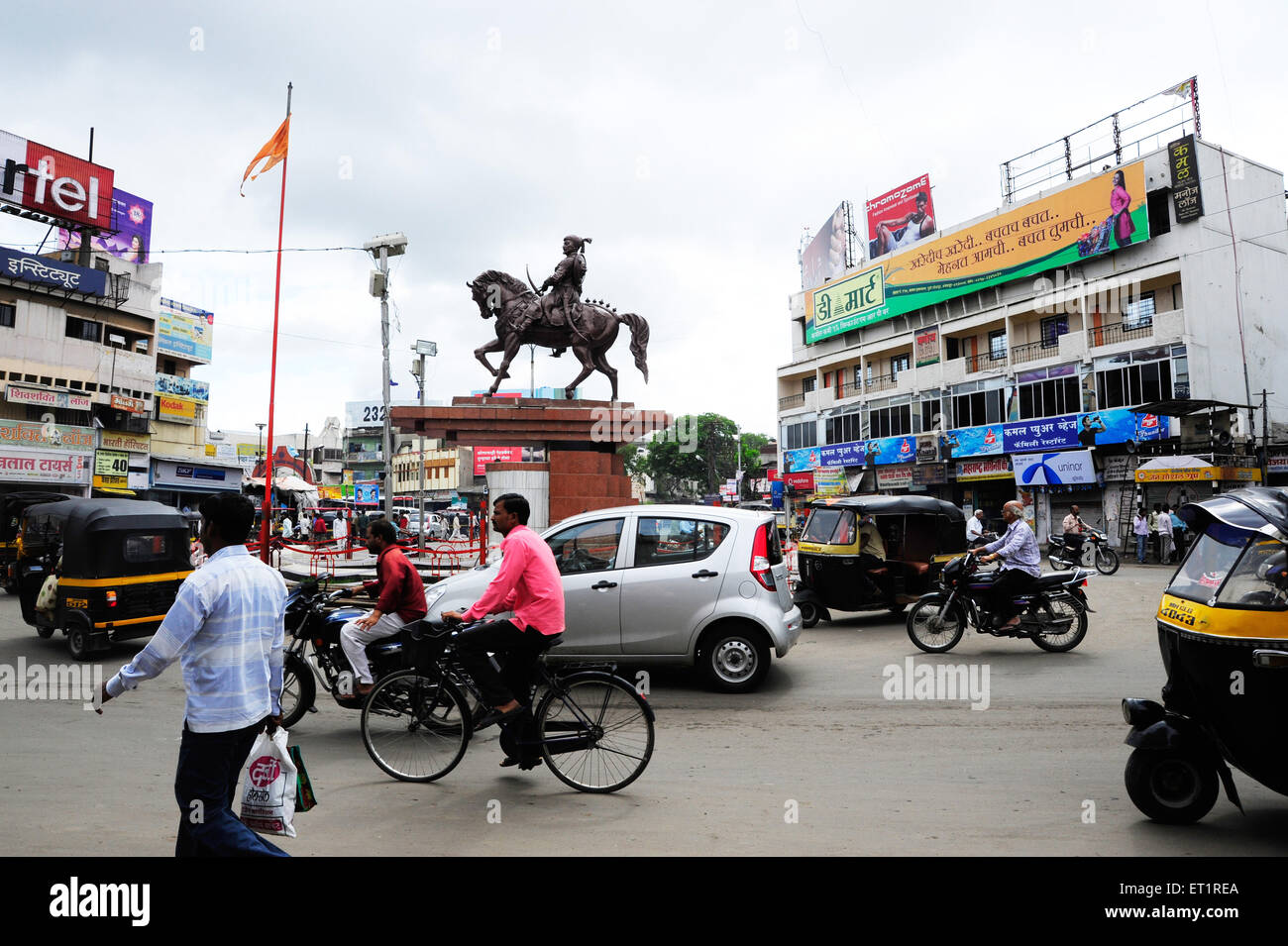 Panjarpola carrefour et statue de Shivaji Maharaj;;; Inde Maharashtra Mumbai Photo Stock