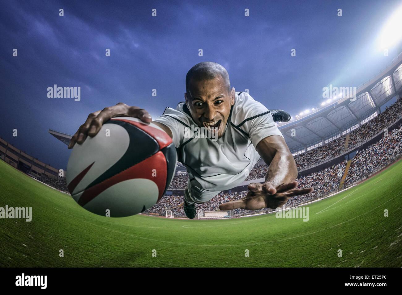 Joueur de rugby homme chauve Banque D'Images