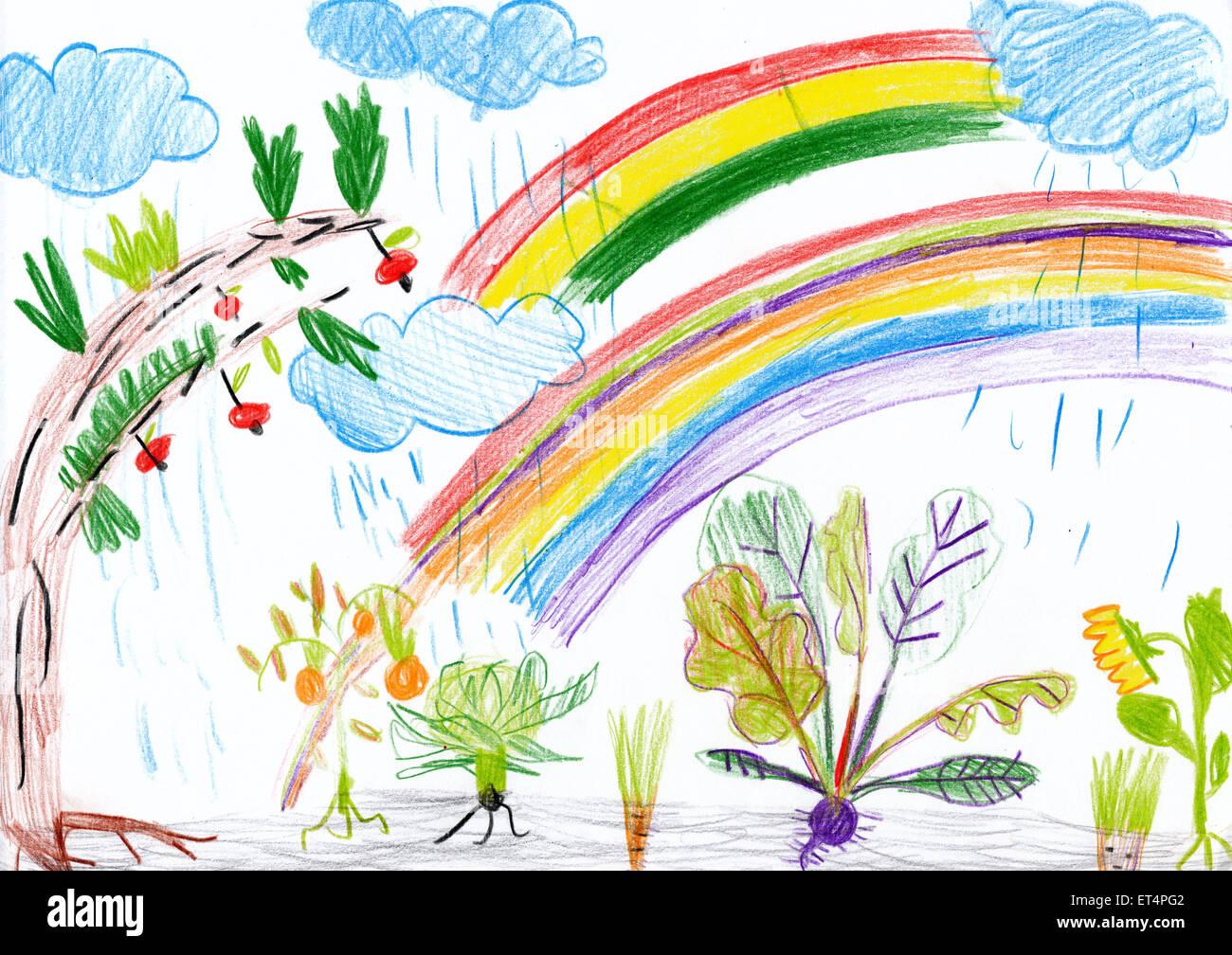 Paysage Avec Arc En Ciel Dessin D Enfant Banque D Images Photo