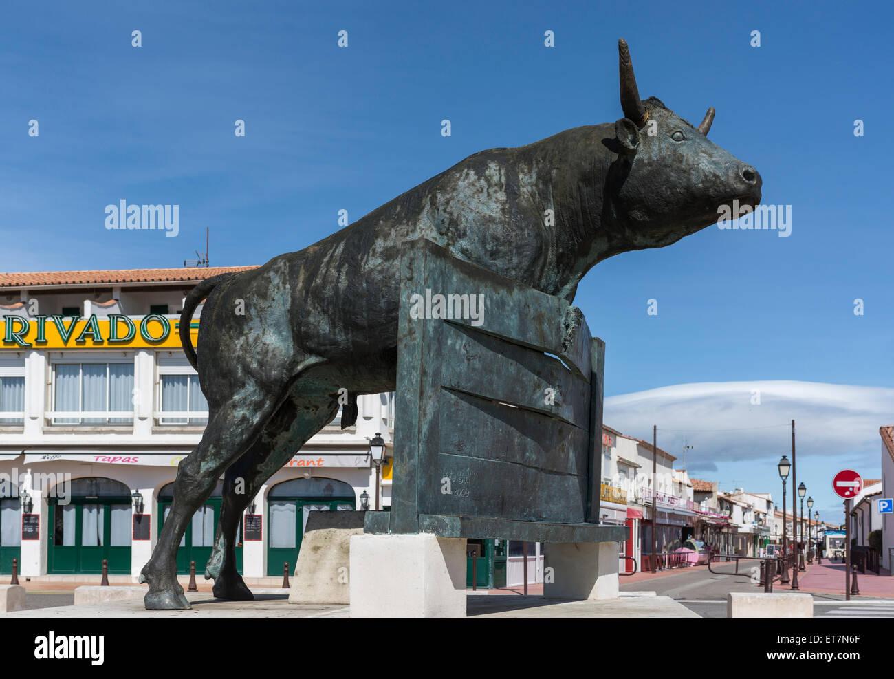 Monument de la tauromachie, des Saintes-Maries-de-la-Mer, Provence-Alpes-Côte d&#39;Azur, France Photo Stock