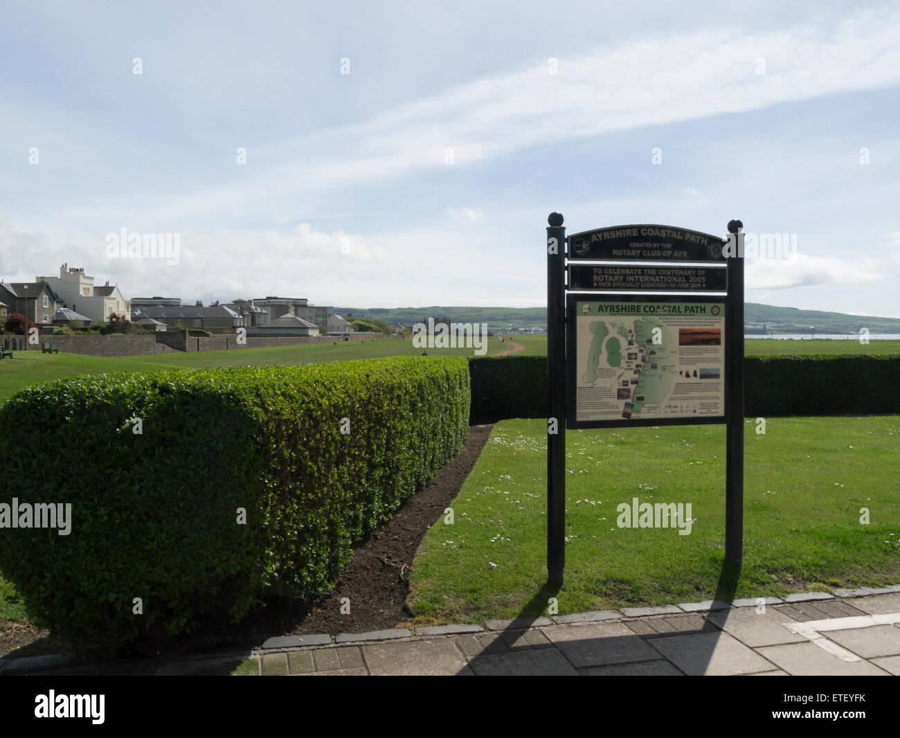 Début du sentier du littoral de l'Ayrshire ouvert 2008 pour célébrer le centenaire du Rotary International espace ouvert urbain Ecosse Ayr autrefois commune de terres de pâturage Banque D'Images