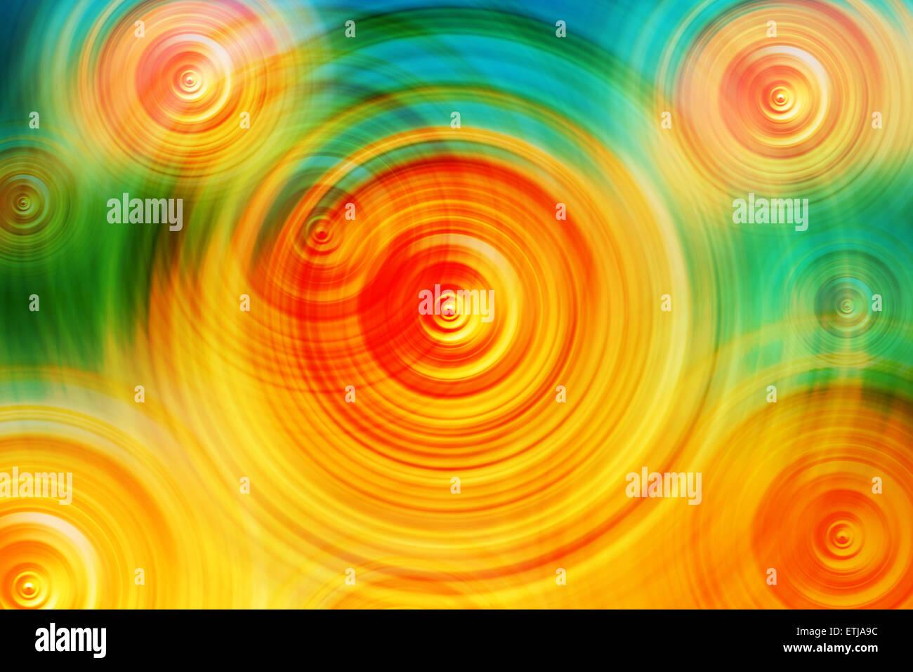 Résumé Arrière-plan flou radial coloré, de cercles concentriques, que l'énergie des Photo Stock