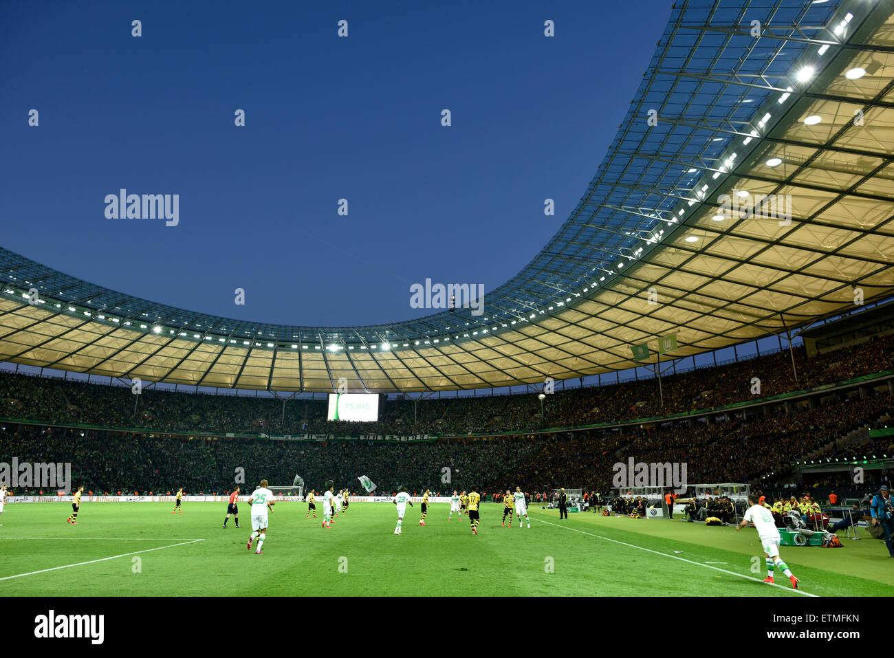La finale de la Coupe DFB, 2015 Stade olympique le soir, Berlin, Allemagne Photo Stock