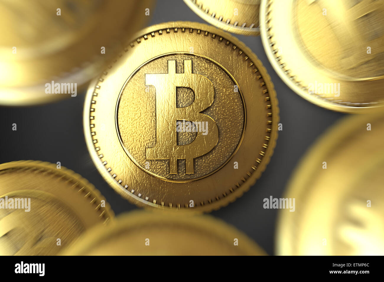 Une représentation stylisée d'un Bitcoin, la monnaie numérique. Photo Stock