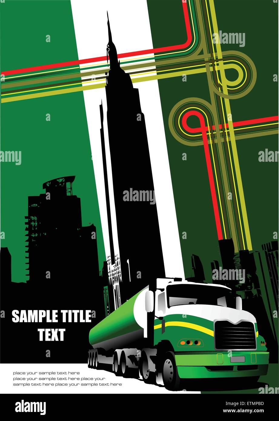 Couvrir pour brochure avec junction et camion images. Vector Photo Stock