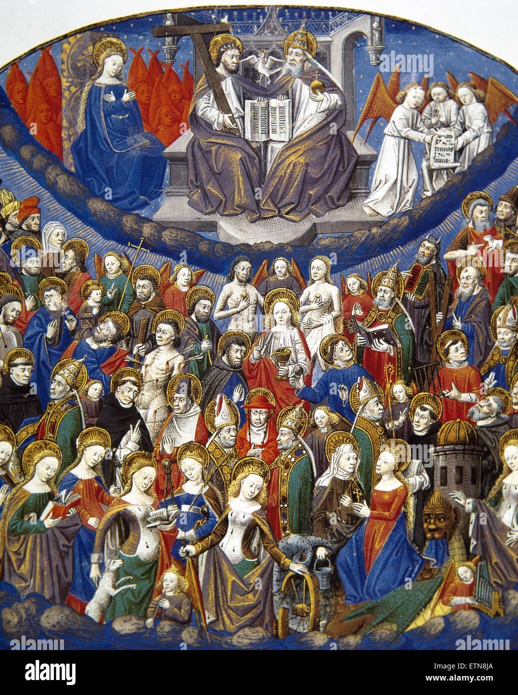 Cour céleste. La Sainte Trinité. Dieu comme trois personnes consubstantiel. Le Roman de la Rose miniature, Photo Stock