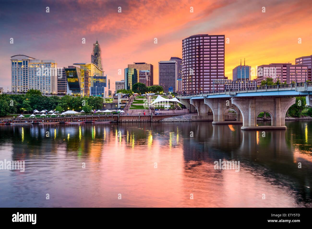 Hartford, Connecticut, USA sur le centre-ville. Photo Stock