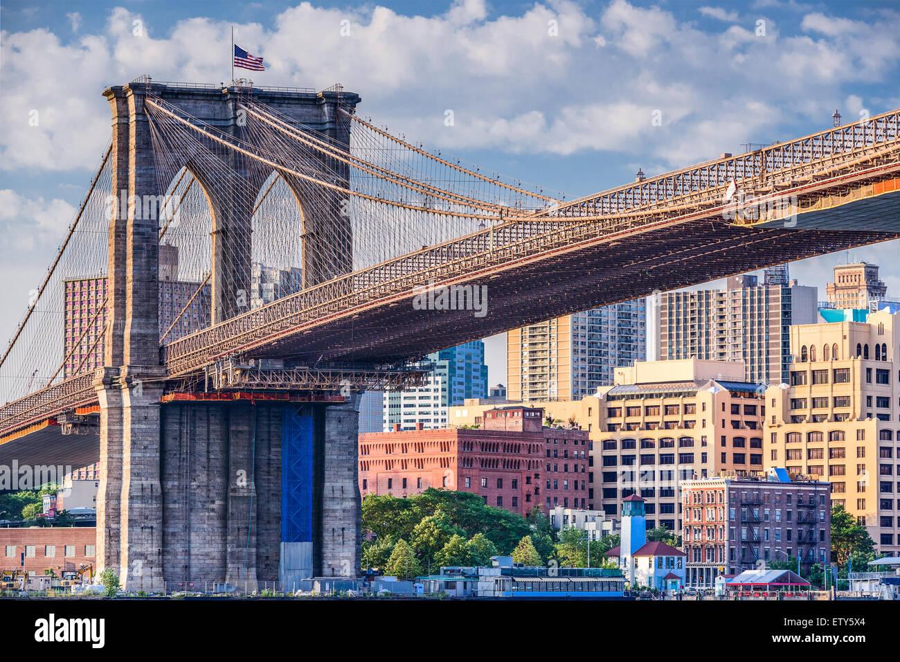 Pont de Brooklyn à New York. Photo Stock