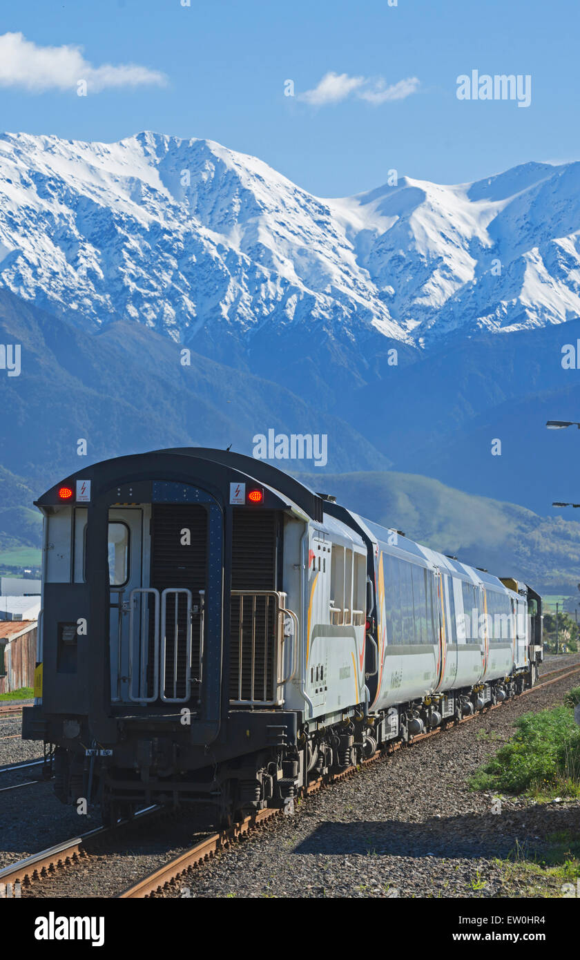 Les passagers train, Kaikoura, île du Sud, Nouvelle-Zélande Photo Stock