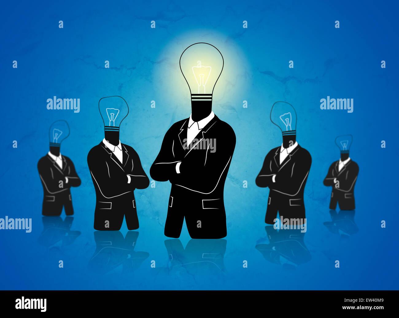 Concept de montons pensée out' avec homme d'idée. Photo Stock