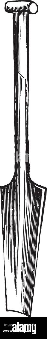 Spade béquille drainage lame légèrement concave, vintage engraved illustration. Encyclopédie Photo Stock